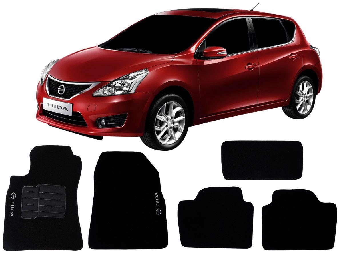 Tapete Carpete Nissan Tiida 2008 em diante Personalizado com bordado nos dois tapetes dianteiros (5 peças)