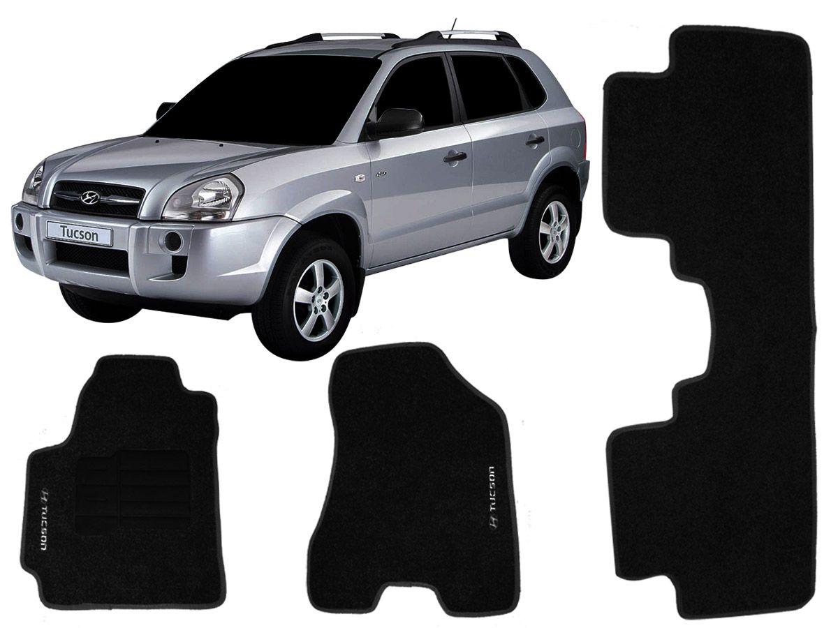 Tapete Carpete Hyundai Tucson 2004 em diante Personalizado com bordado nos dois tapetes dianteiros (3 peças)