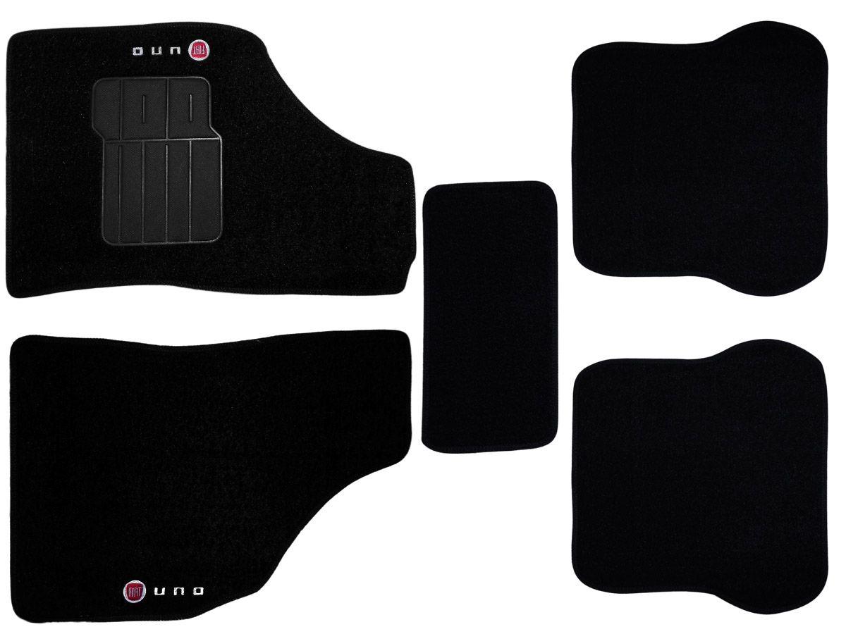 Jogo tapete carpete Uno Mille 2000 até 2012 com bordado (5 peças) e base pinada