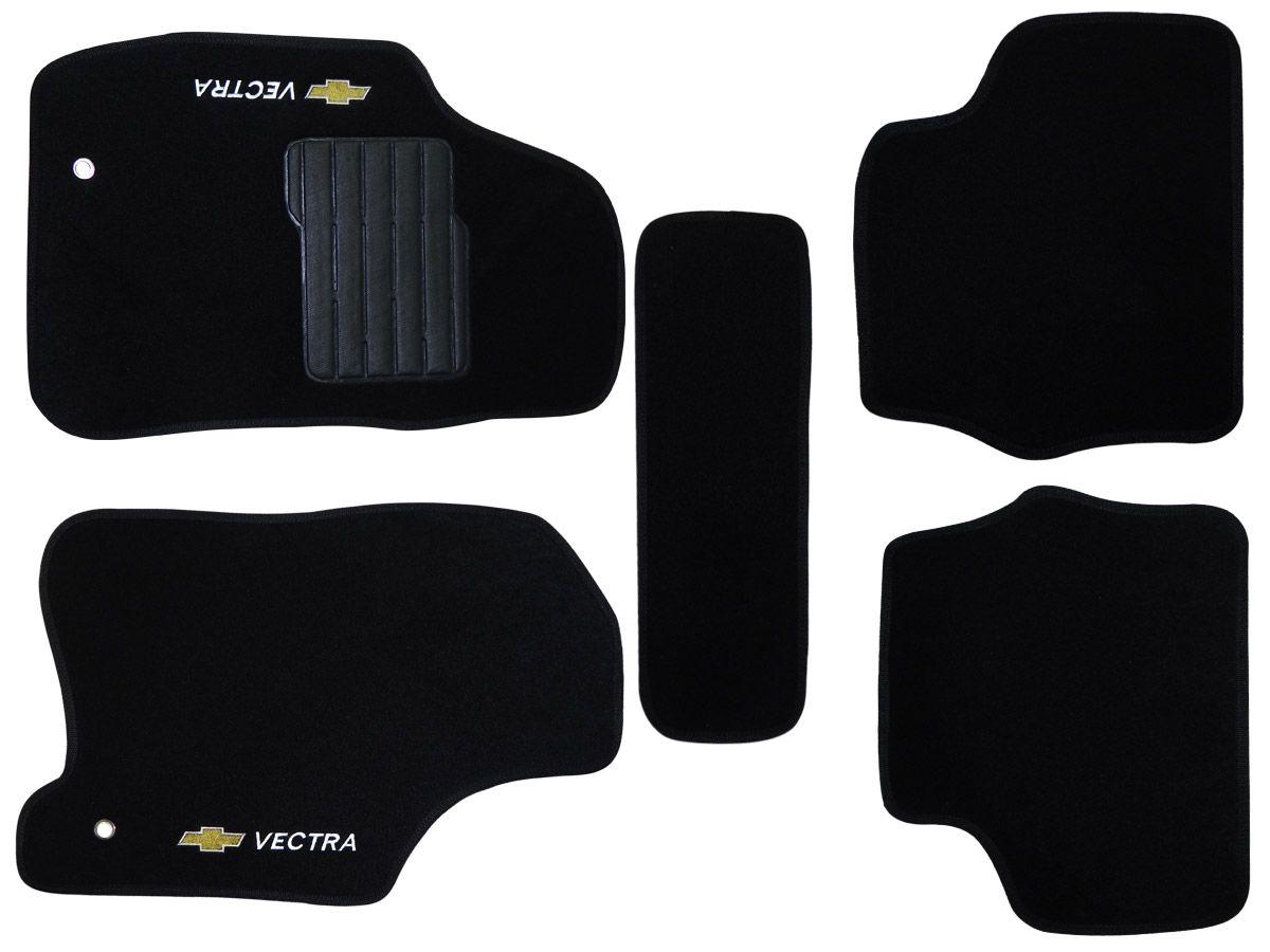 Jogo tapete carpete Vectra 1997 1998 1999 2000 2001 2002 2003 2004 2005 com bordado (5 peças) e base pinada