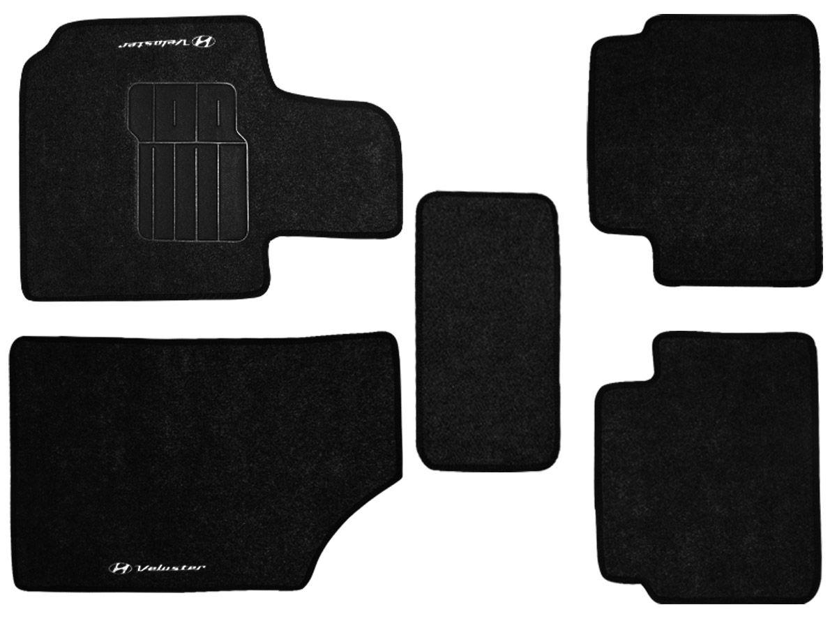 Jogo tapete carpete Veloster 2011 2012 2013 2014 com bordado (5 peças) e base pinada