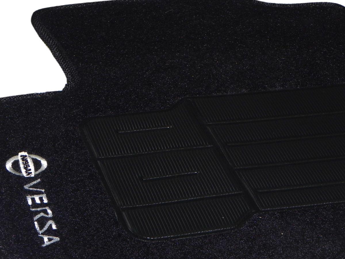 Jogo tapete carpete Versa 2011 2012 2013 2014 2015 2016 com bordado (5 peças)