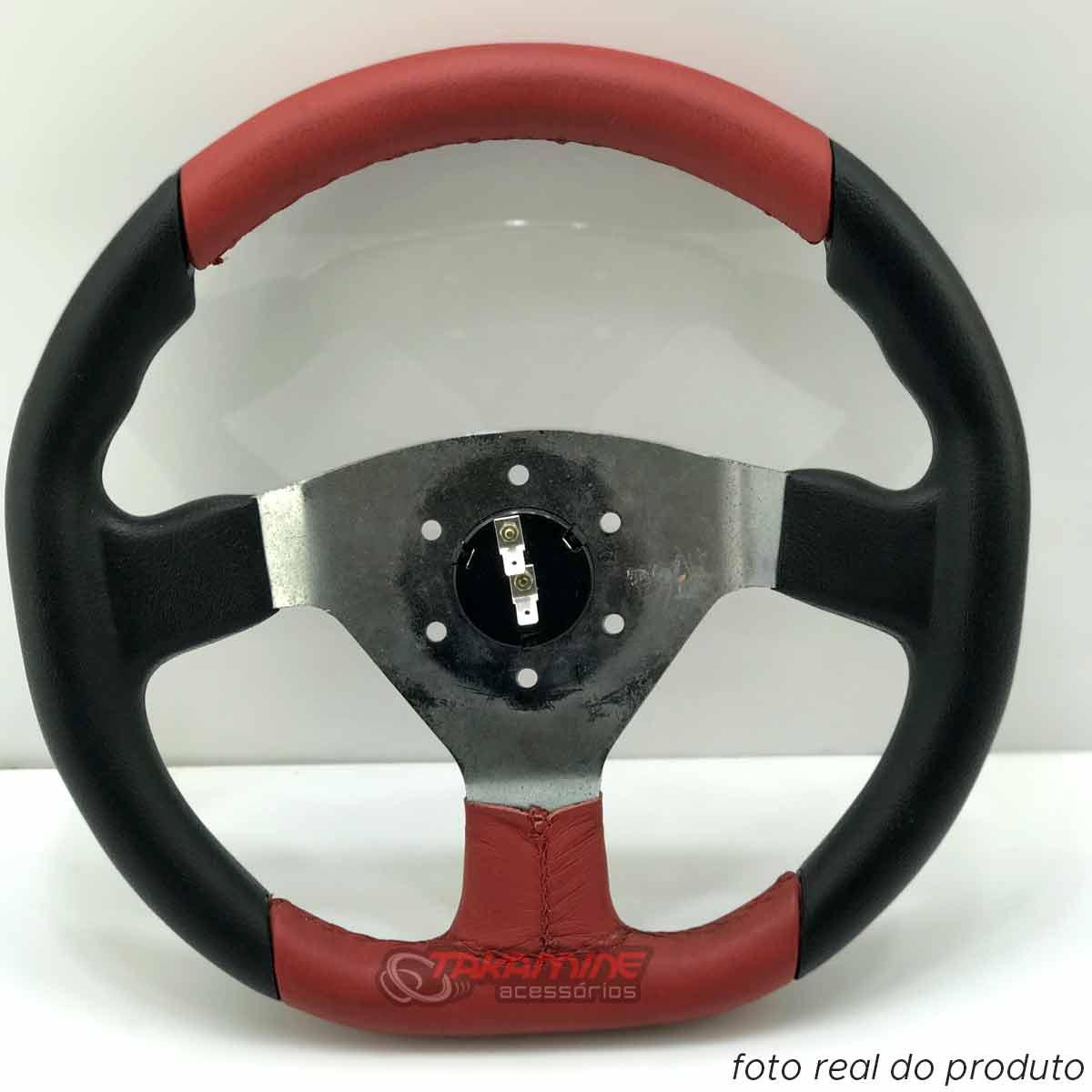 Volante esportivo Shutt New Racing centro escovado com couro vermelho