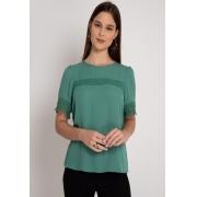 Blusa de crepe manga curta verde