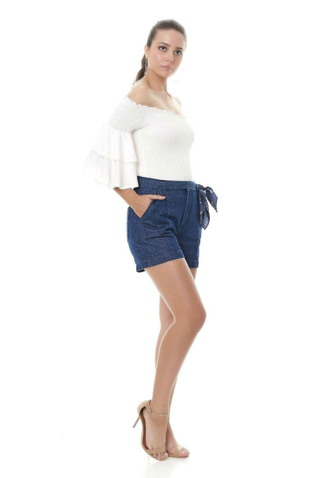 bermuda jeans Gatabakana com lenço