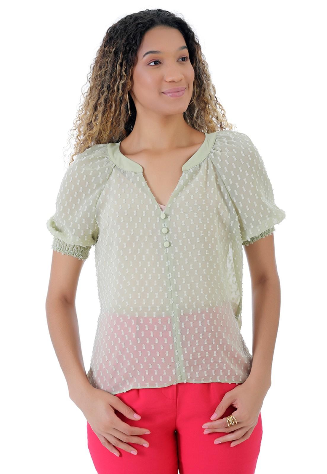 Blusa de chiffon verde