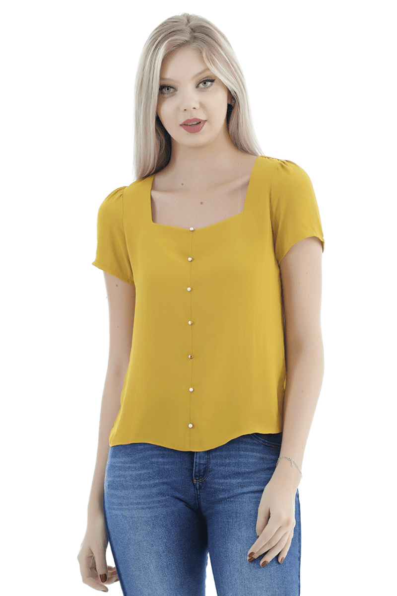 Blusa de crepe manga curta