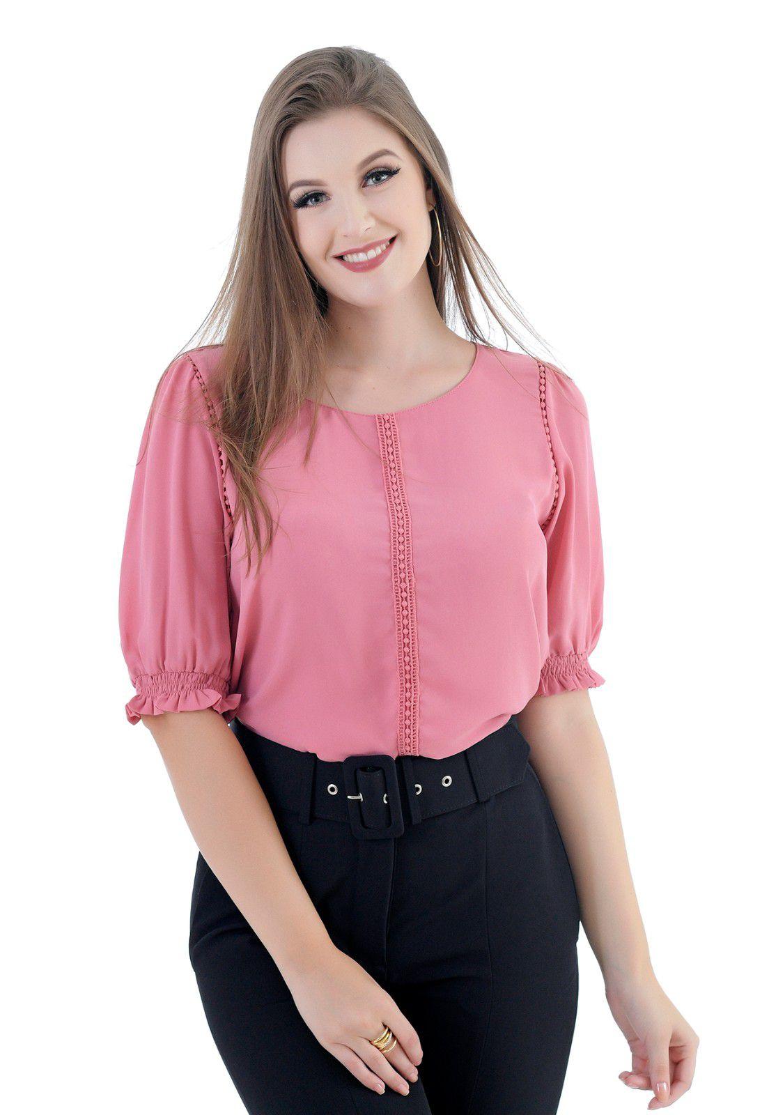 Blusa de crepe pink