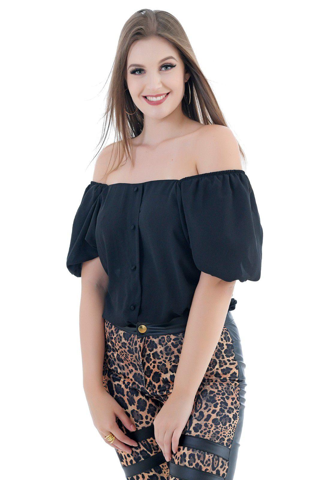 blusa de crepe preta