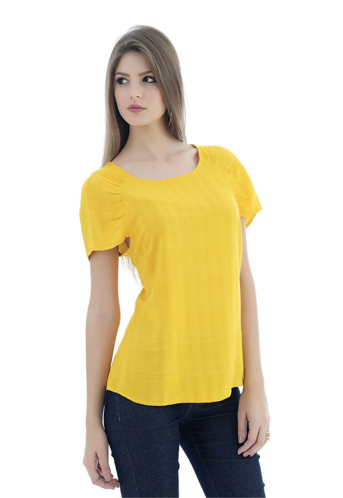 Blusa de viscose amarela
