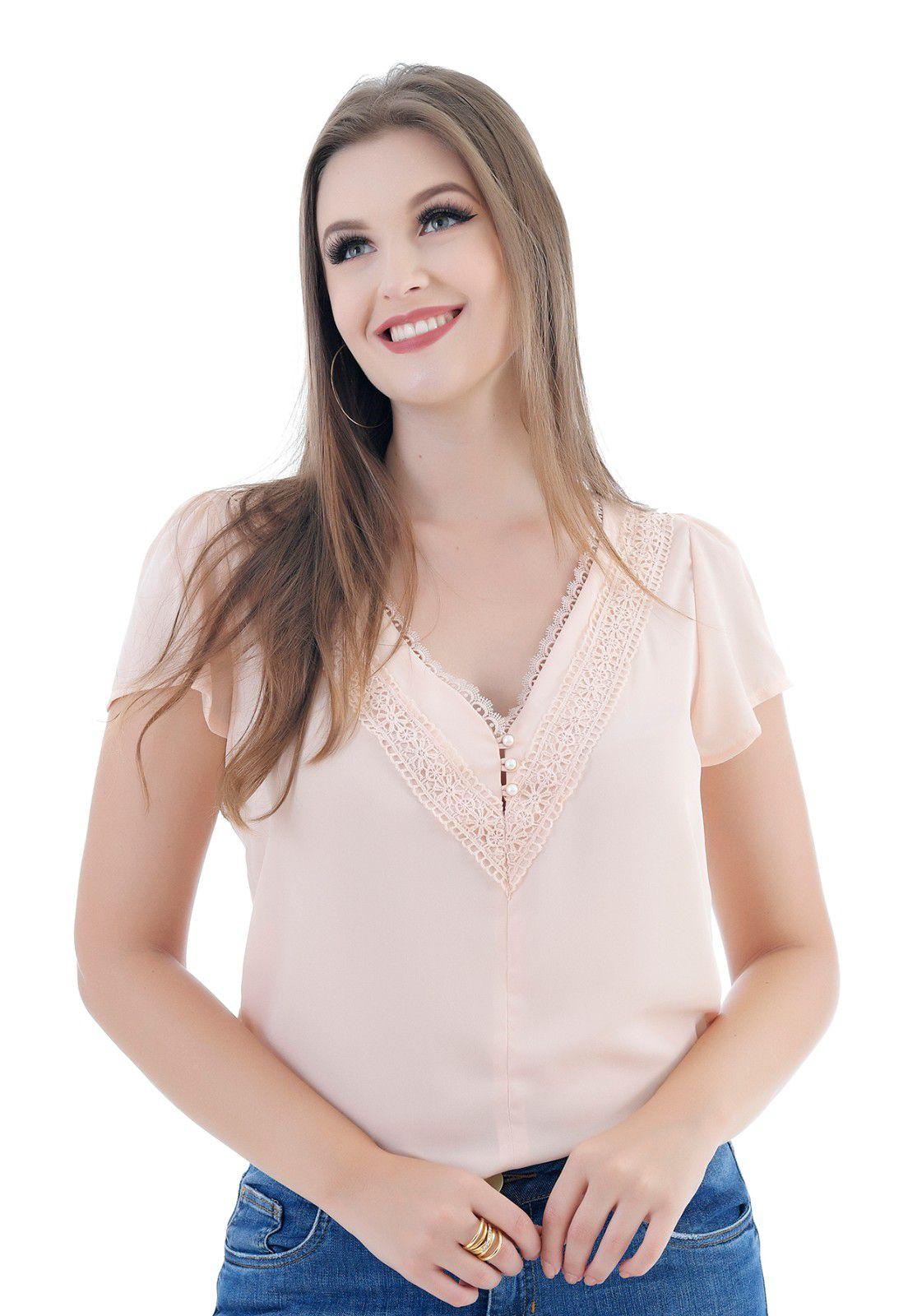 Blusa feminina de crepe