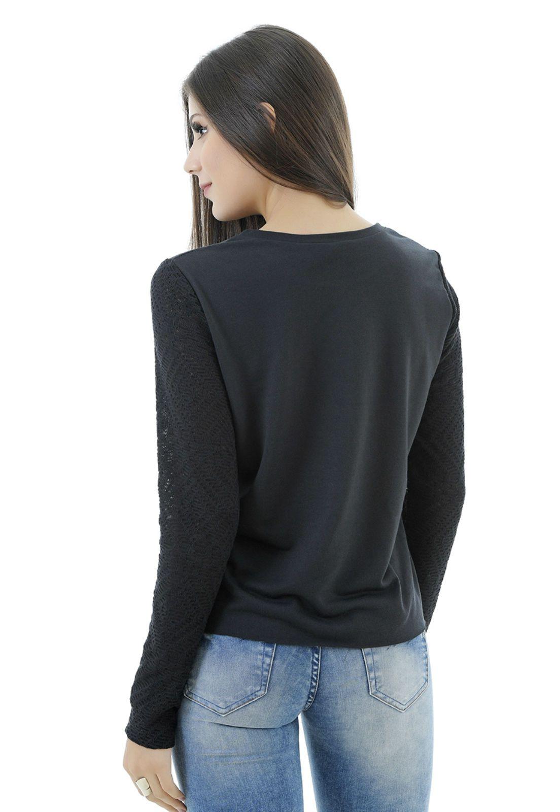 Blusa manga longa preta