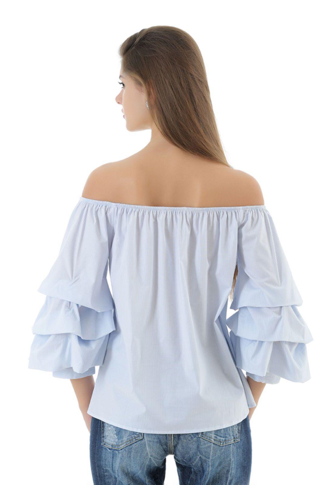 Blusa ombro a ombro manga longa