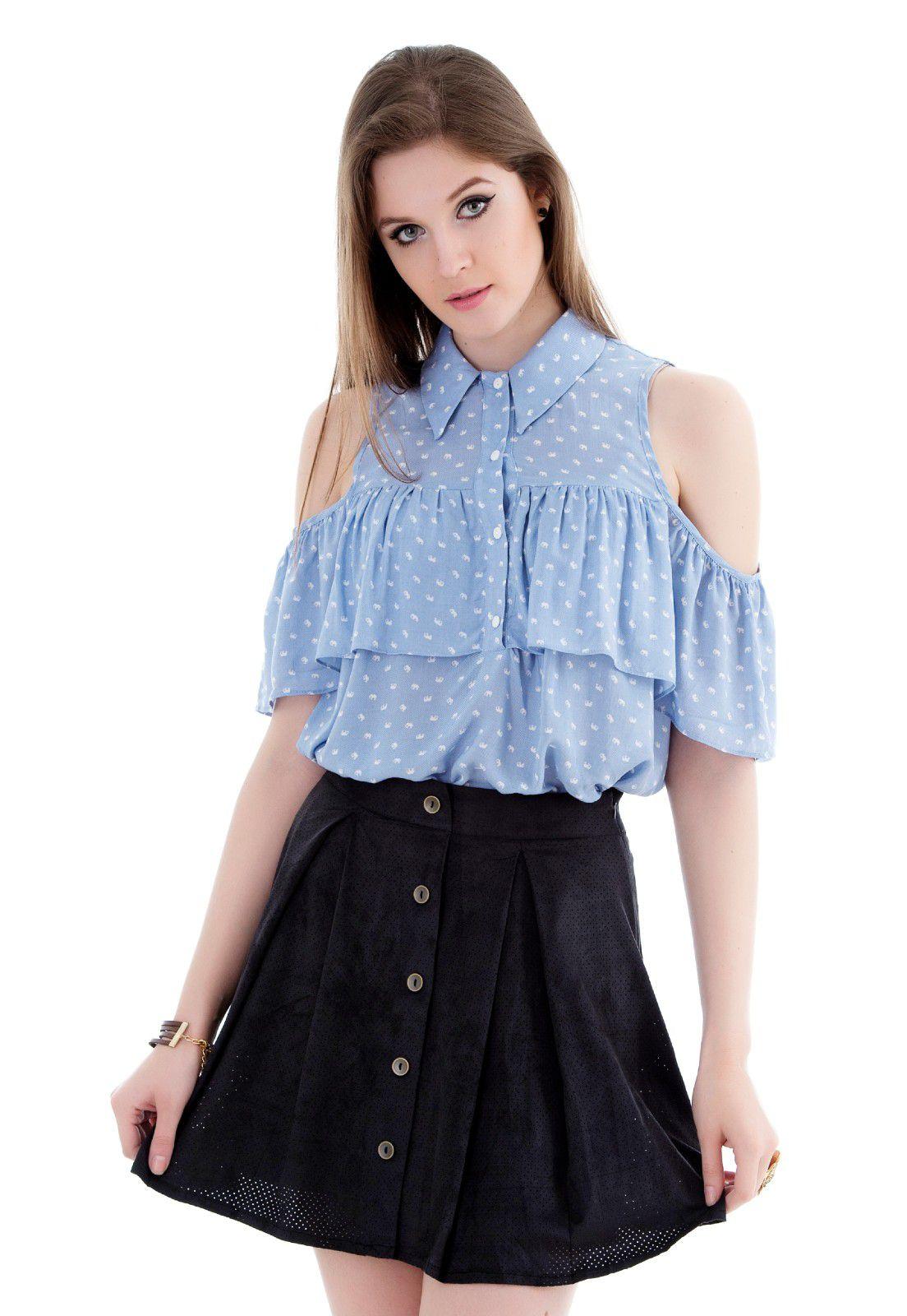 Blusa ombro vazado com babado