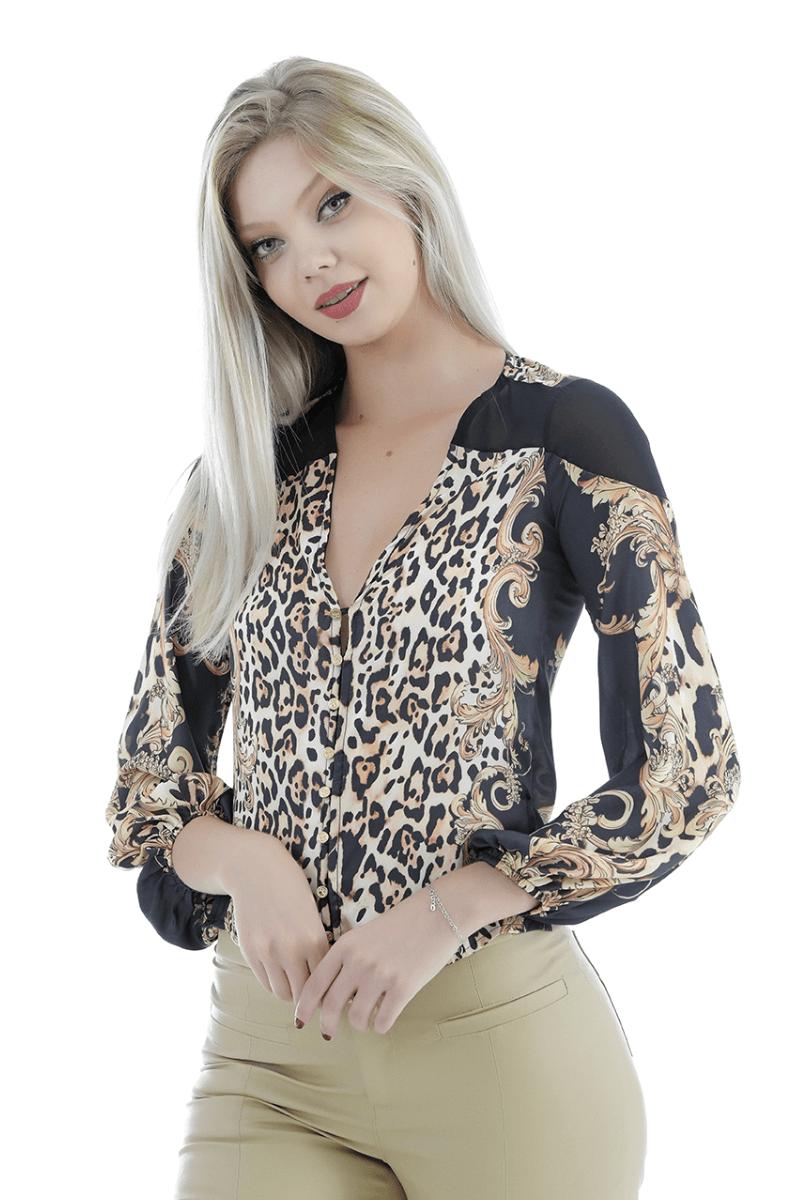 camisa animal print Gatabakana