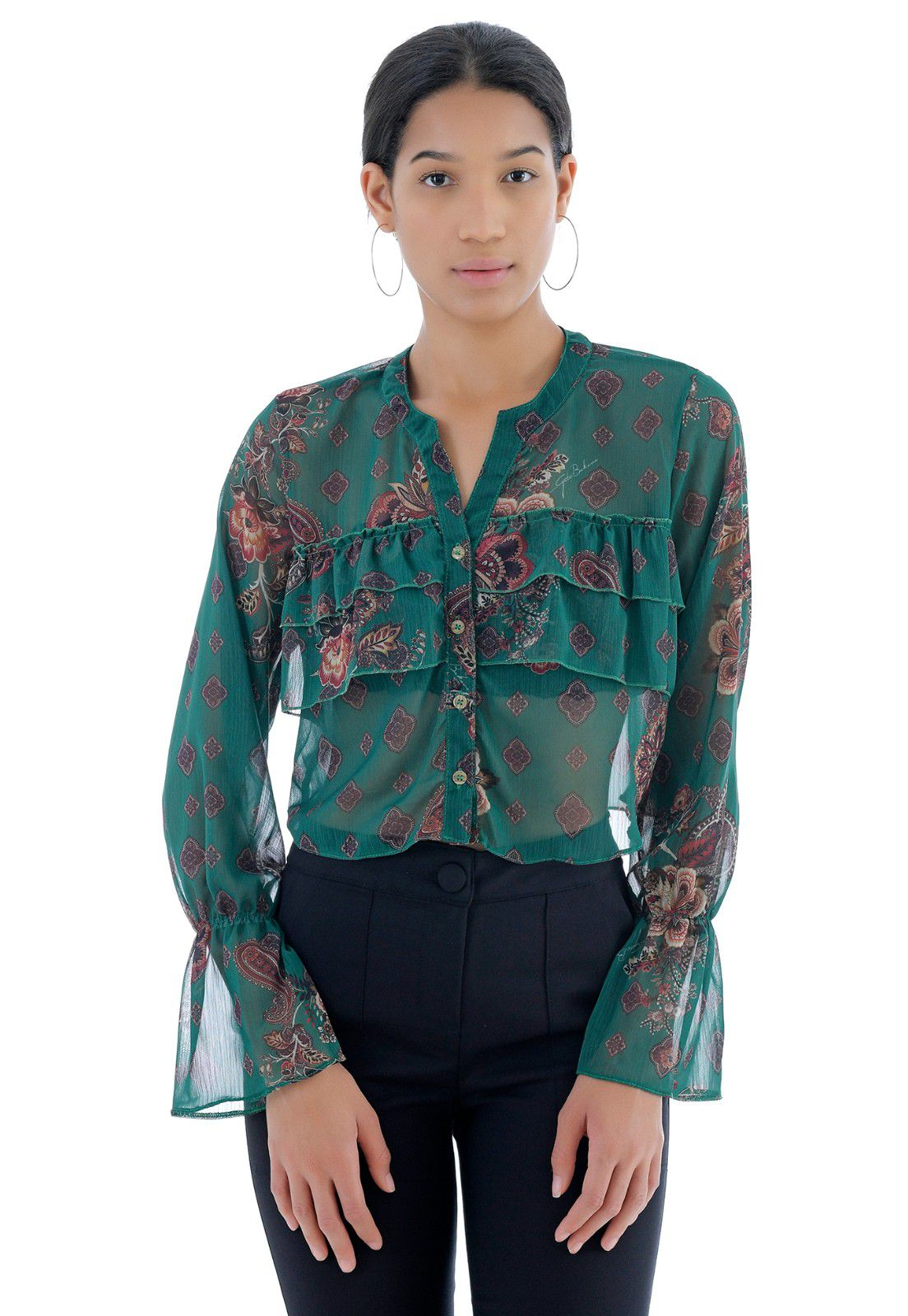 Camisa Cropped Floral