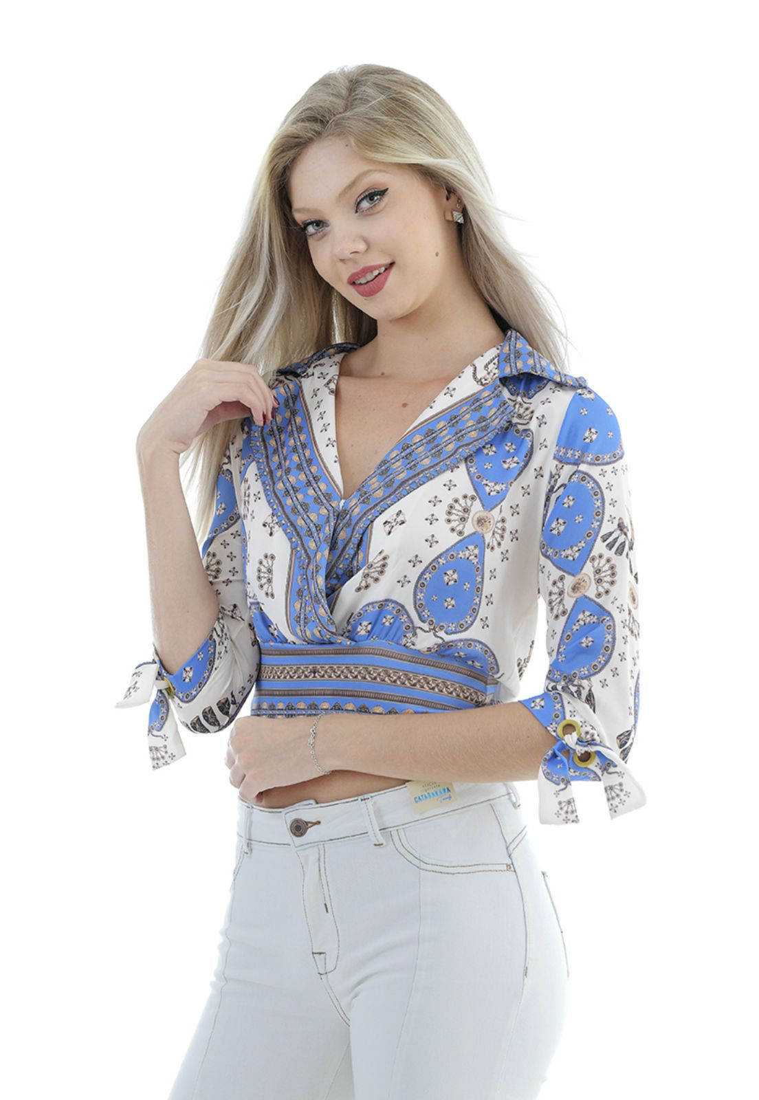 Camisa de cetim estampada Gatabakana