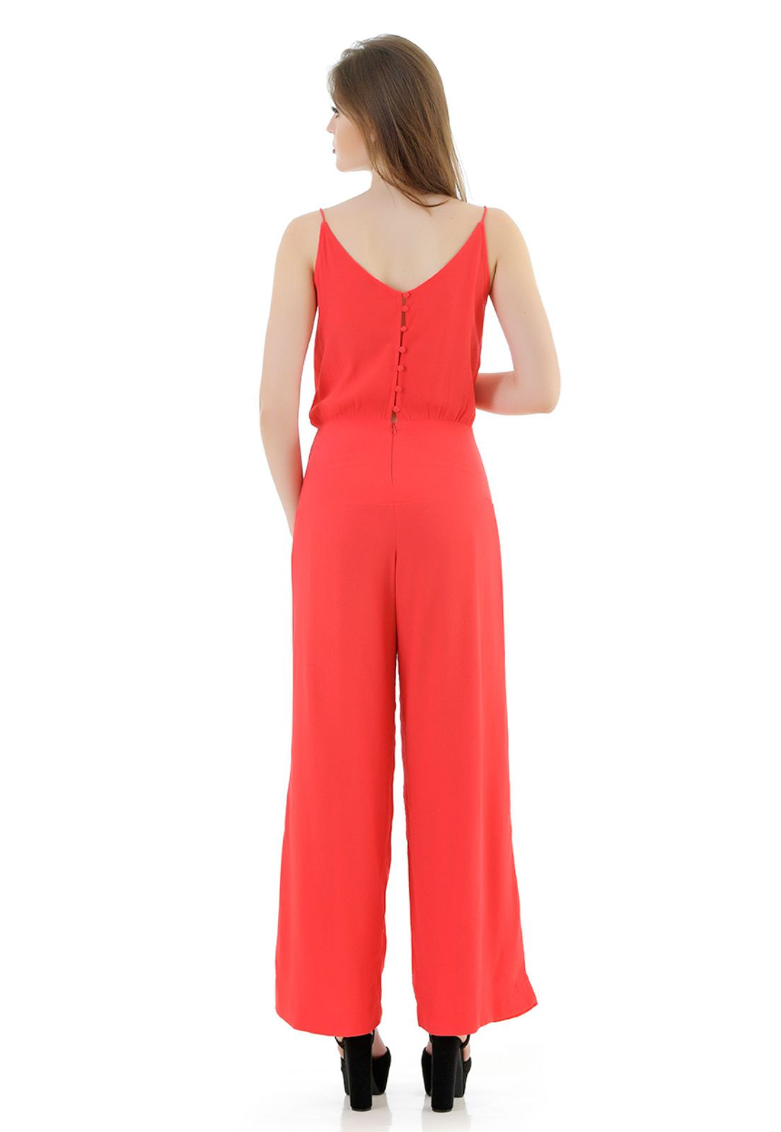 Macacao Pantalona vermelho Unique Chic