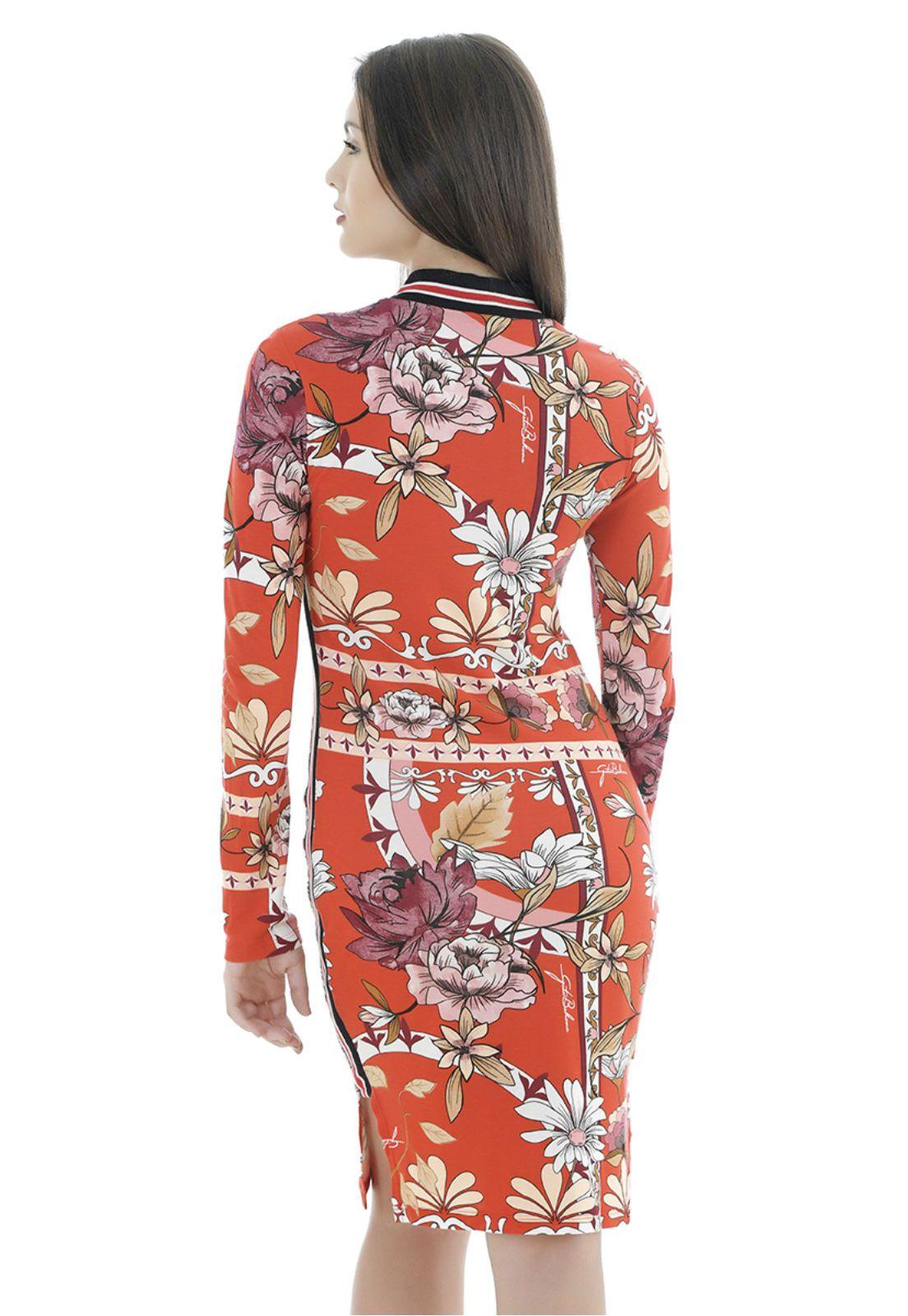 Vestido de viscose estampado gatabakana