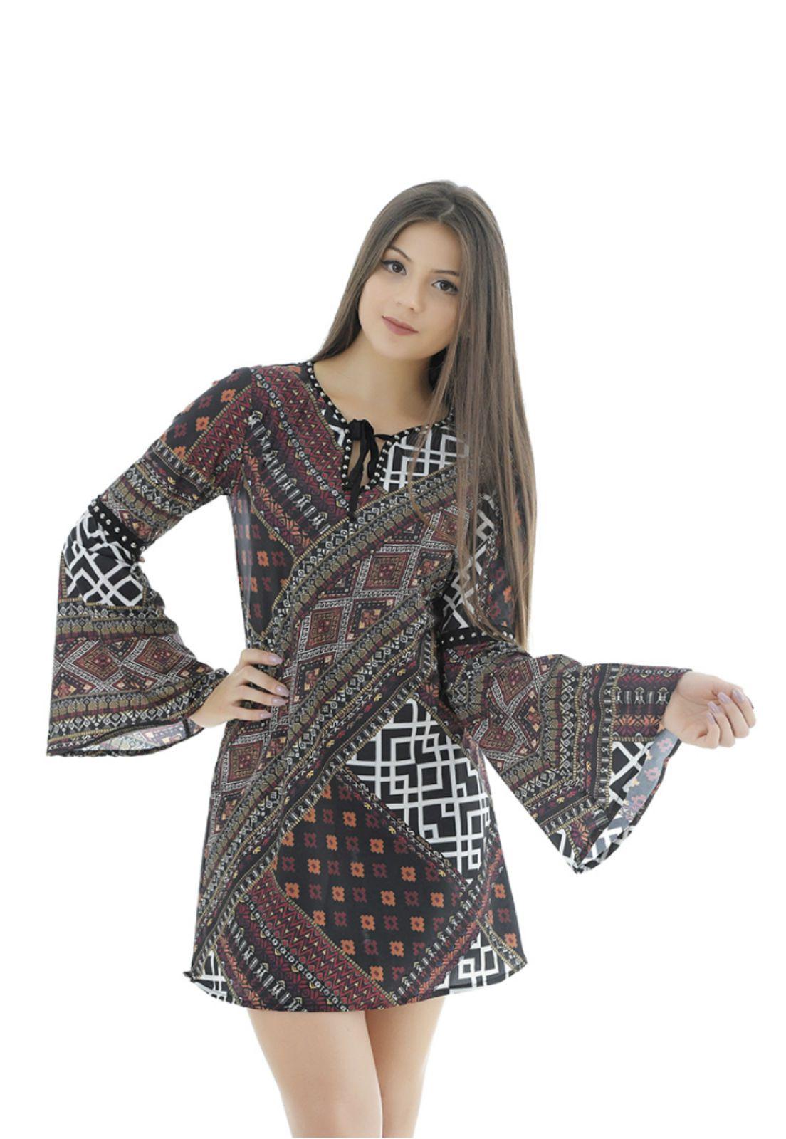 Vestido estampa étnica Gatabakana