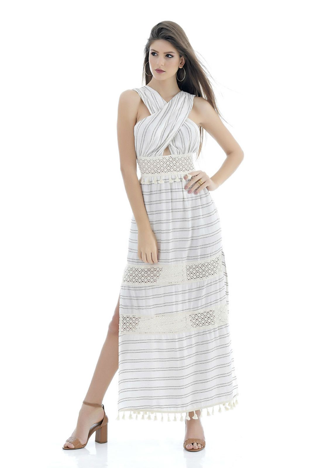 Vestido longo de linho Tuart