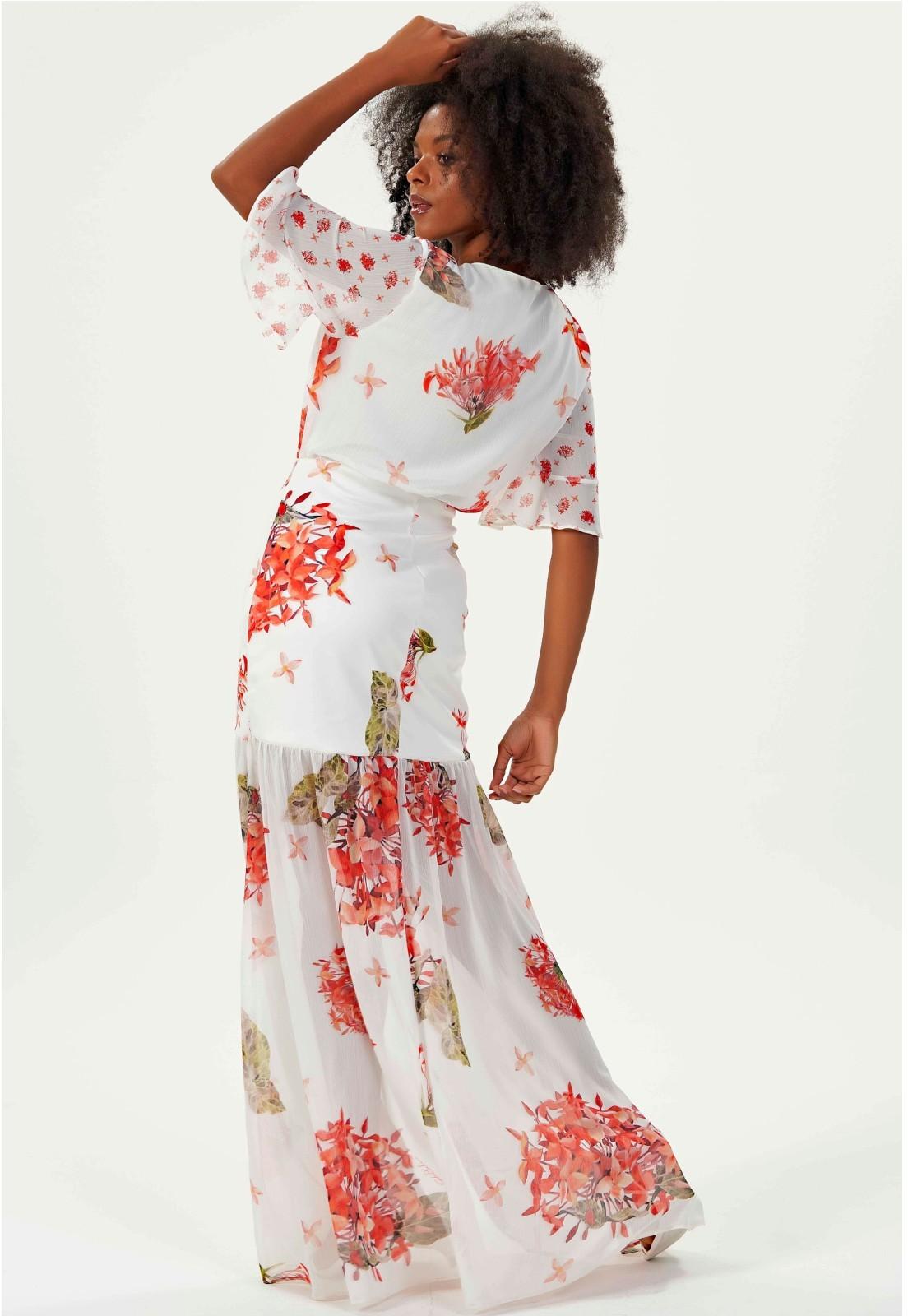 Vestido longo estampado Gatabakana