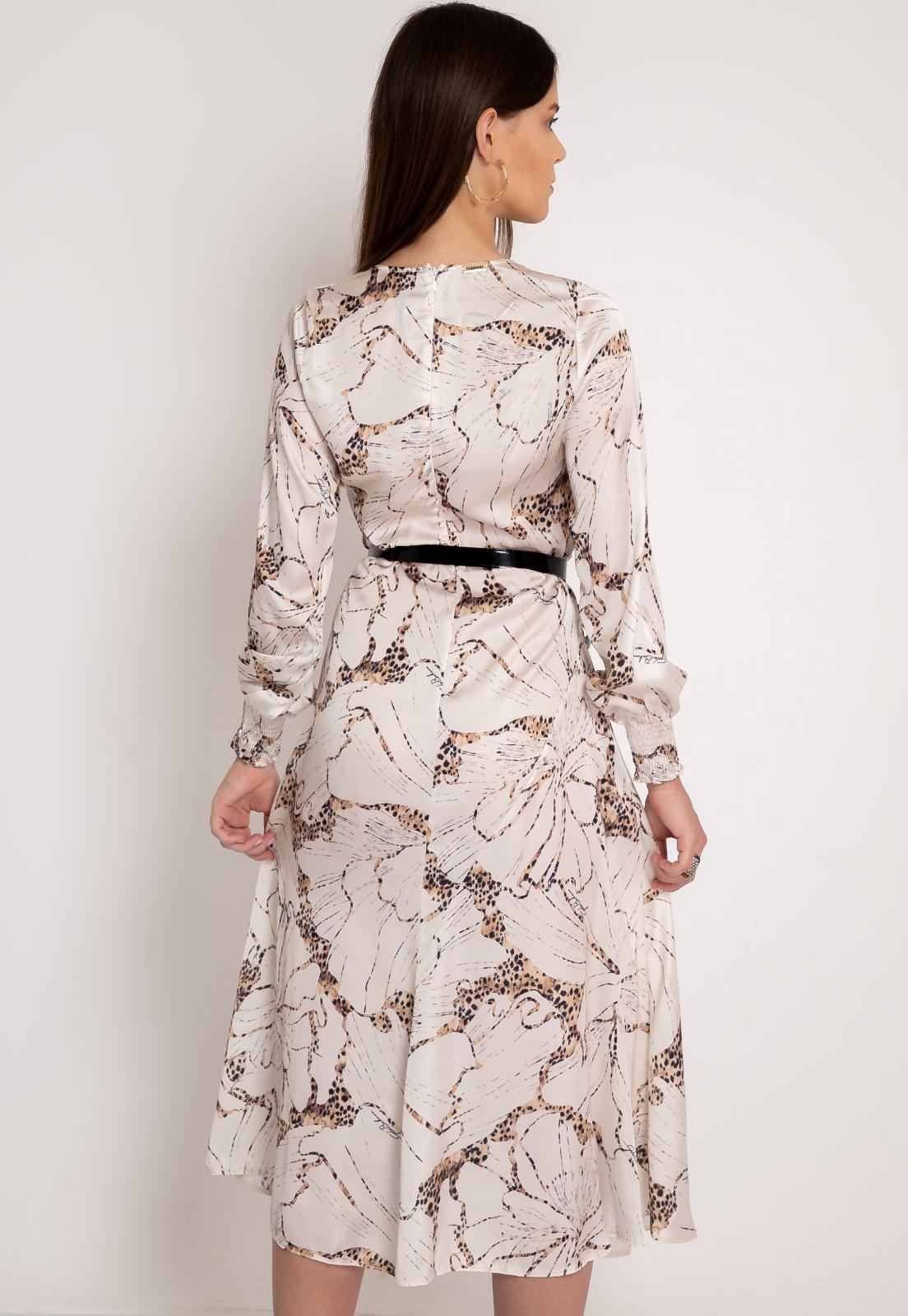 Vestido midi estampa animal print