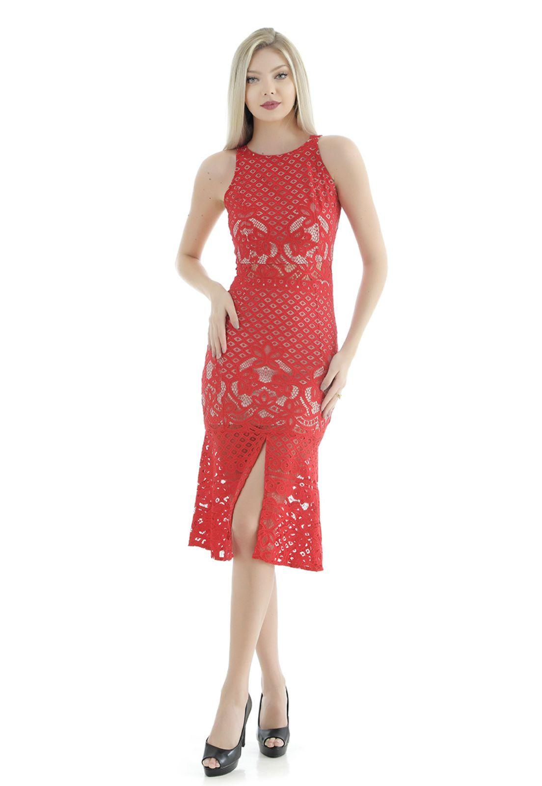 Vestido midi vermelho Gatabakana