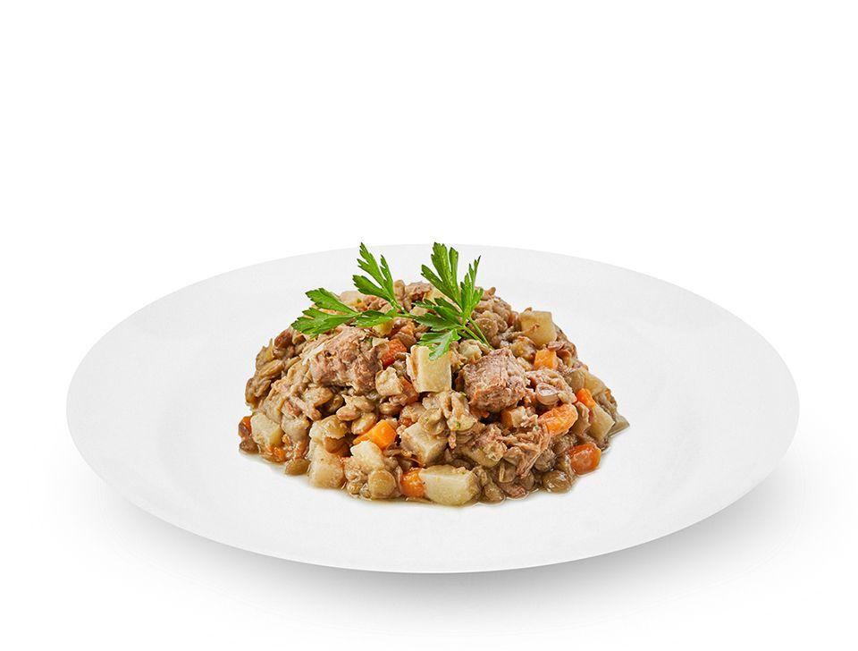 Afogadinho de carne com lentilha
