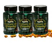 Extrato de Própolis Verde, 30% concentrado, sem álcool, 120 capsulas gelatinosas - 3 potes