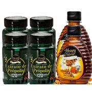 Extrato de Própolis Verde em capsulas 120unid e Mel 300g Honey World - 2 Combos No. 3