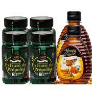 Extrato de Própolis Verde em capsulas 60unid e Mel 300g Honey World - 2 Combos No. 4