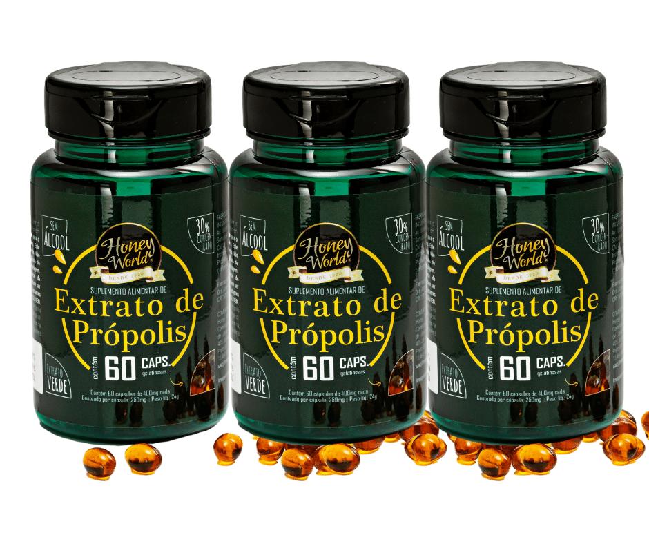 Extrato de Própolis Verde, 30% concentrado, sem álcool, 60 capsulas gelatinosas - 3 potes