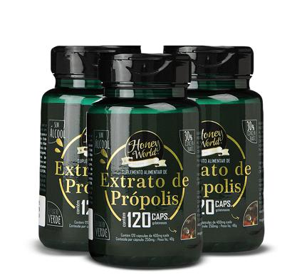 Extrato de Própolis Verde, 30% concentrado,Pote120 capsulas gelatinosas - 3 potes