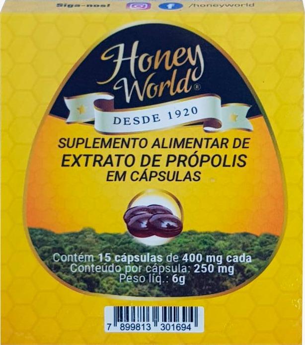 Extrato de Própolis Verde, 30% concentrado, sem álcool, 15 capsulas gelatinosas