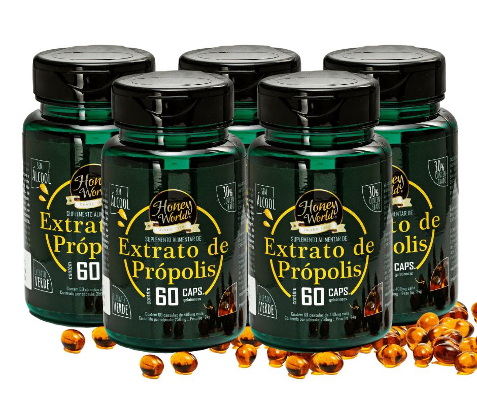 Extrato de Própolis Verde, 30% concentrado, sem álcool, 60 capsulas gelatinosas - 5 potes