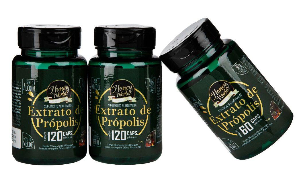 Extrato de Propolis Verde, 30% concentrado, sem alcool, em capsulas - Kit 2 x 1