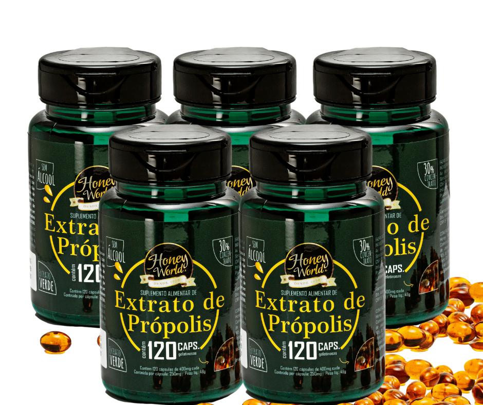 Extrato de Própolis Verde, 30%,Pote c/120 capsulas - 5 potes