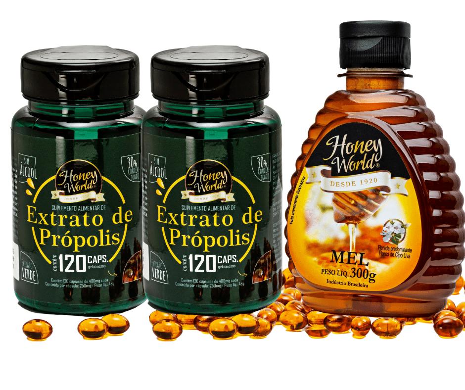 Extrato de Própolis Verde em capsulas 120unid e Mel 300g Honey World - COMBO 3