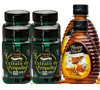 Extrato de Própolis Verde em capsulas 60unid e Mel 300g Honey World - 02 COMBOS N.4