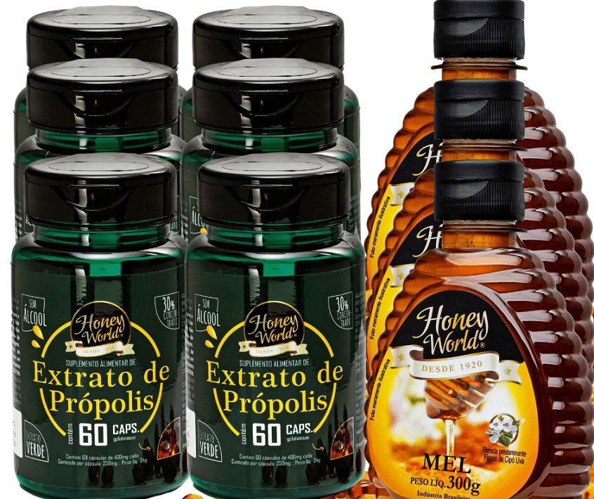 Extrato de Própolis Verde em capsulas 60unid e Mel 300g Honey World - 3 Combos No.4