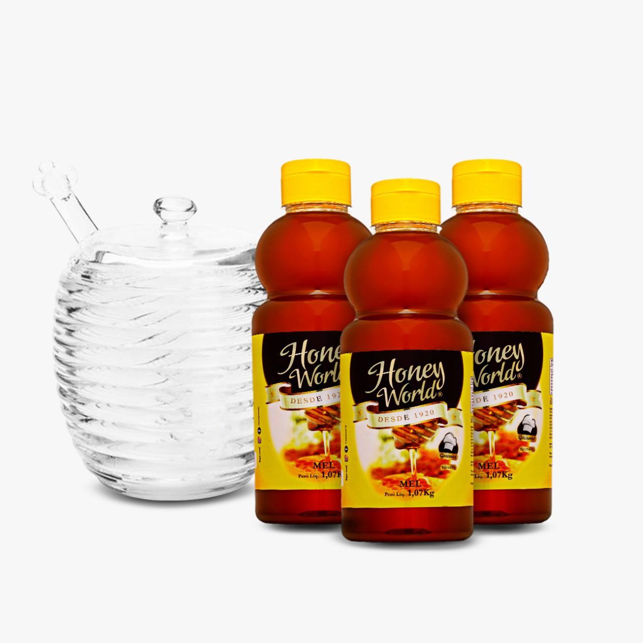 Mel Honey World Gourmet - 1,07Kg - 03 unid + Ganhe 01 Meleira Cristal 210 ml