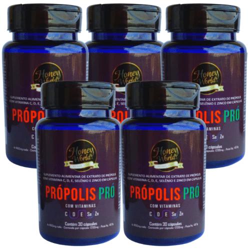 Propolis Pró - Vitaminas C,D,E,Se, ZN 30 caps 1200mg - 05 Potes