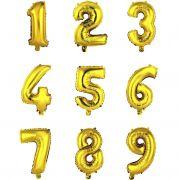 Balão metalizado ouro números 40cm varejo