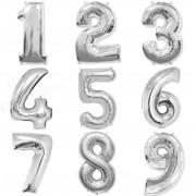 Balão metalizado prata números 40cm c/10 atacado