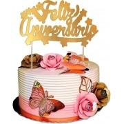 Topper cake metalizado ouro varejo