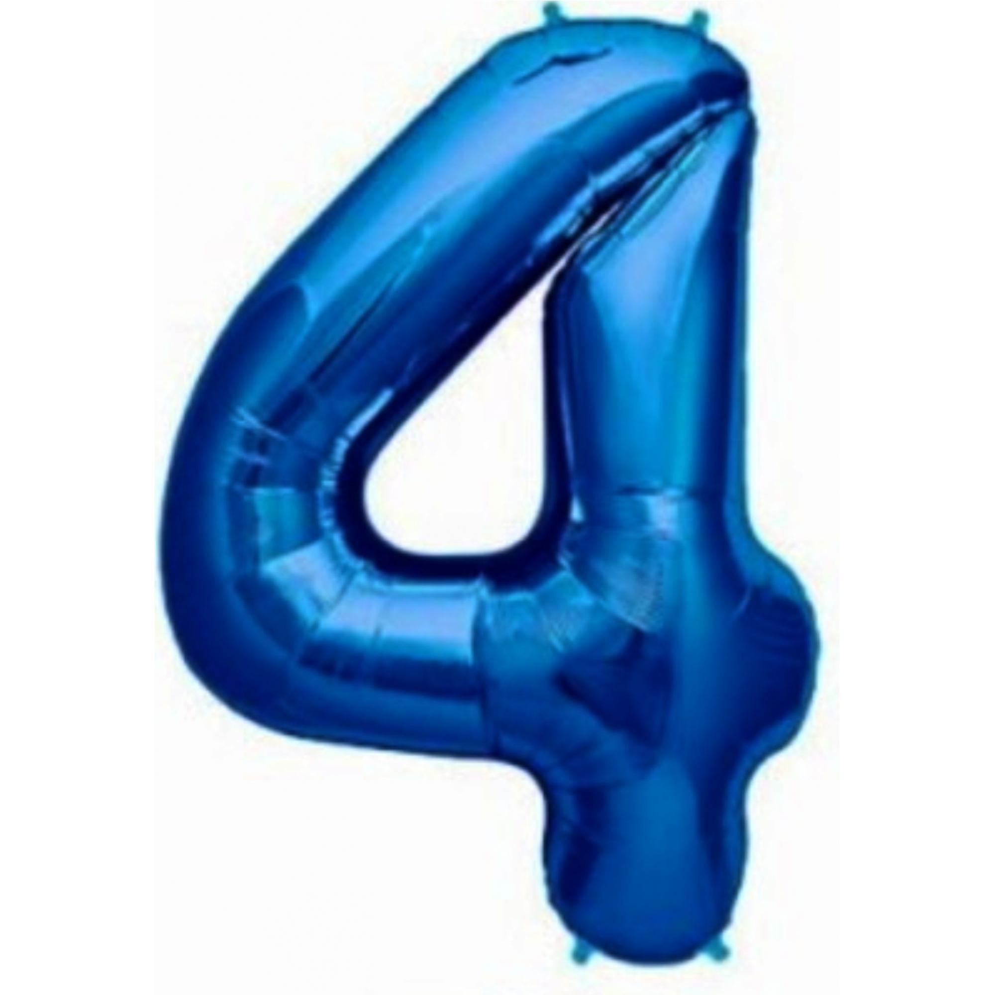 Balão metalizado azul números 40cm