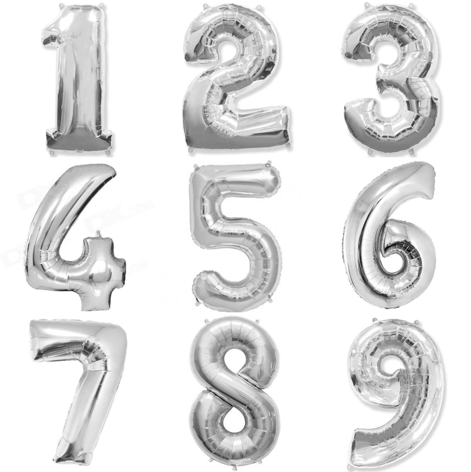 Balão metalizado prata números 40cm