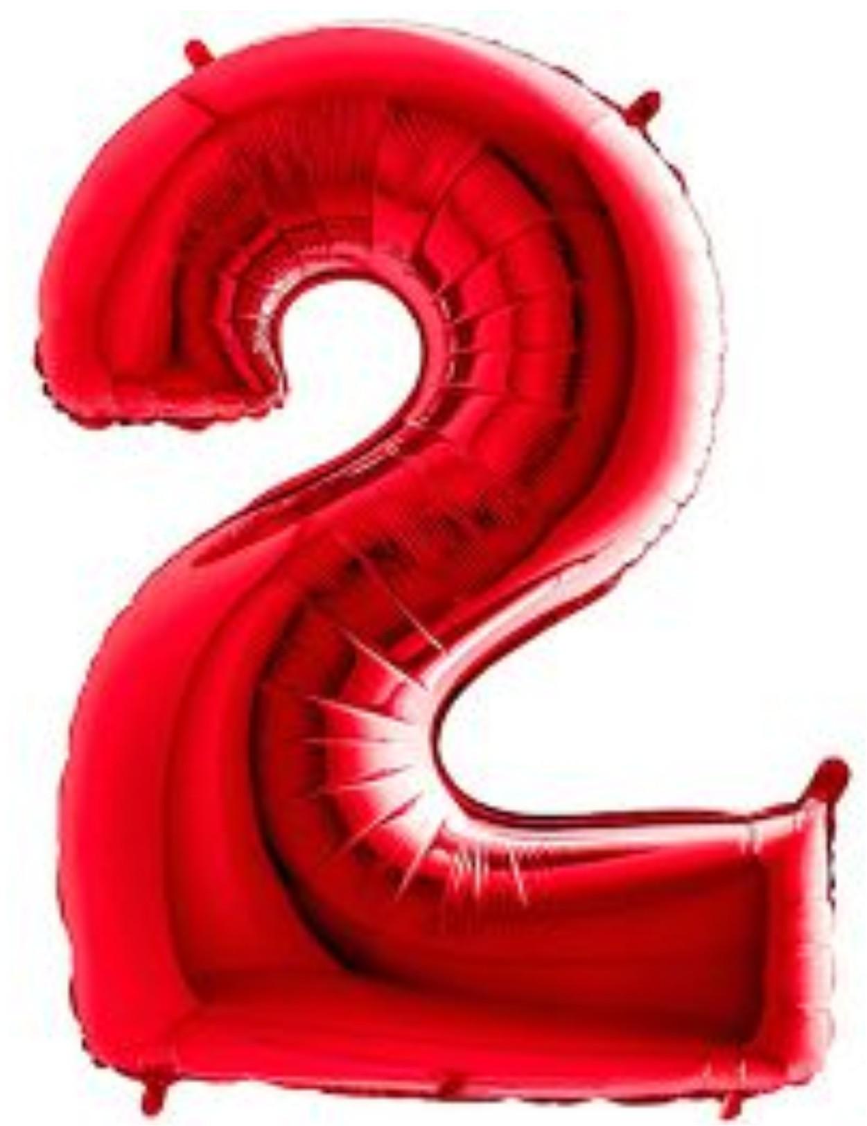 Balão metalizado vermelho números 40cm