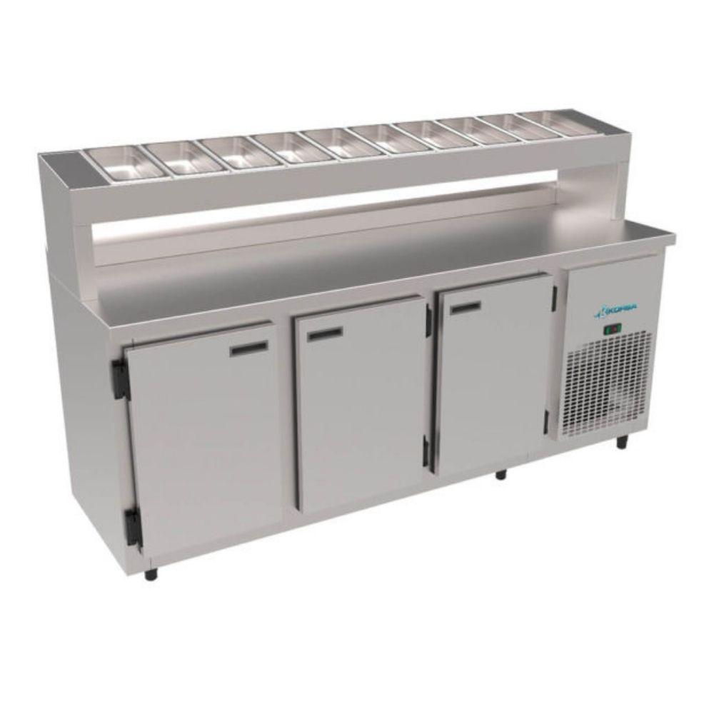 Balcão de Serviço Condimentadora 1,85m Inox Escovado Kofisa - 98/KBSCC-185D